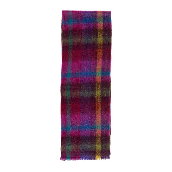 Luxurious mohair mosaic pattern pink /purple scarf