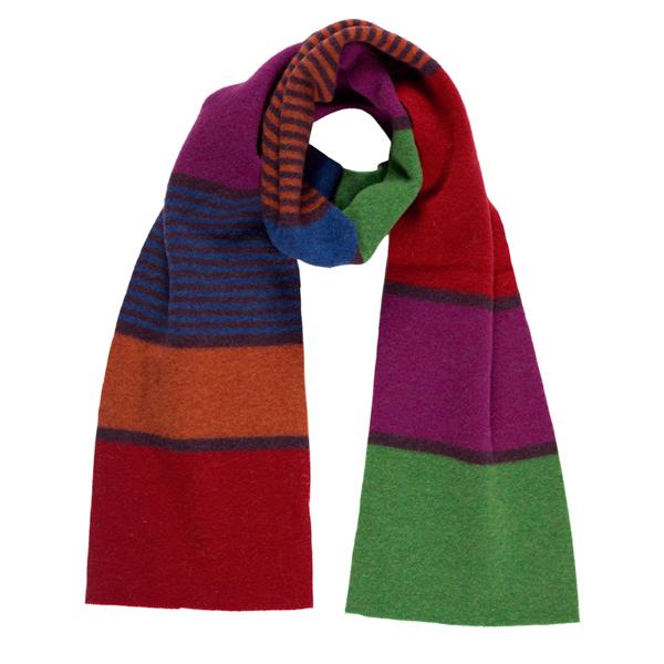 100% pure new wool belladonna stripe pattern scarf