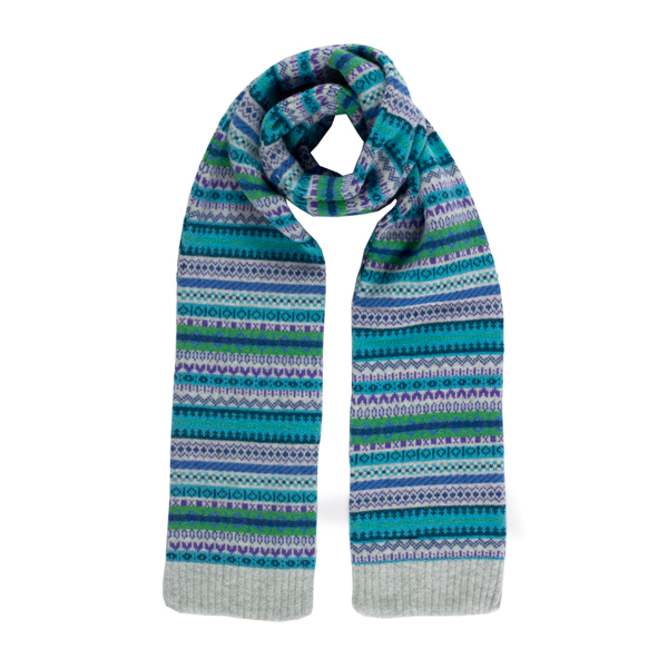 100% pure new wool Islay stripe pattern blue and green slim scarf
