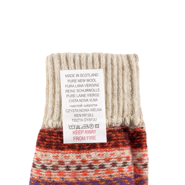 100% pure new wool Islay stripe pattern red and beige gloves
