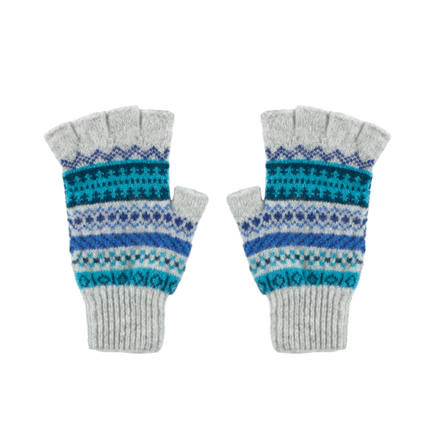 100% pure new wool Islay stripe pattern blue and grey gloves