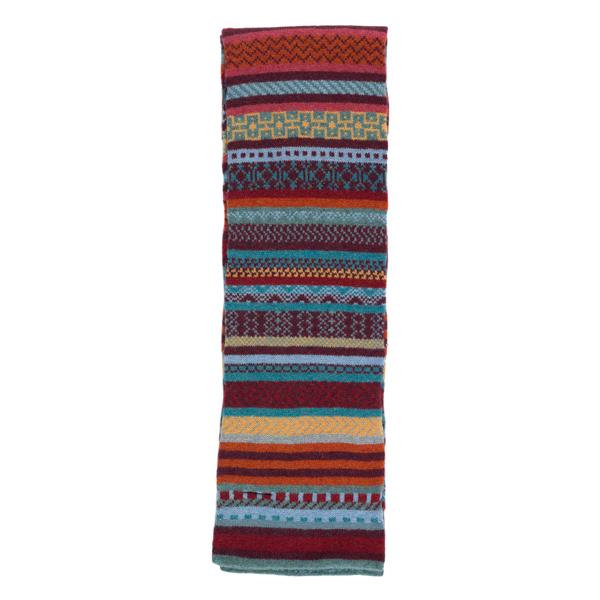 100% pure new wool Islay stripe pattern blue and orange slim scarf