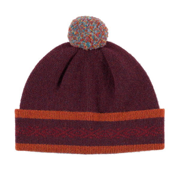 100% pure new wool Islay pattern deep red and orange hat
