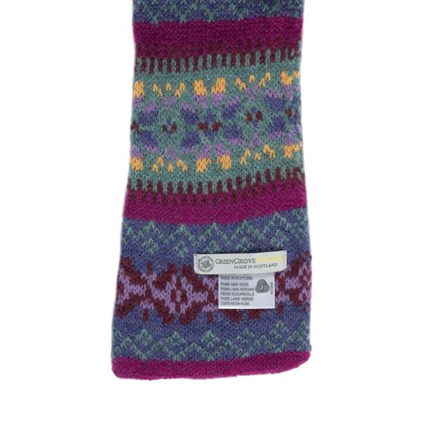 100% pure new wool Islay stripe pattern lupin slim scarf