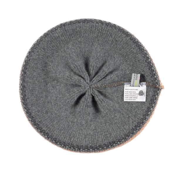 100% pure new wool Islay pattern quicksilver Green Grove beret