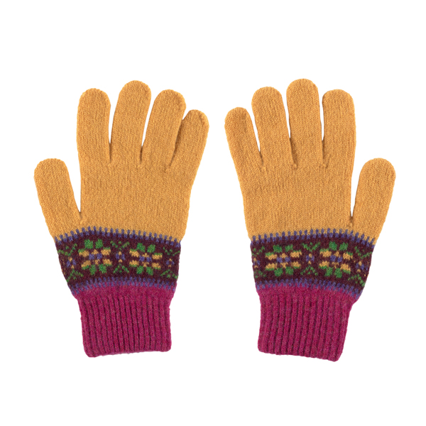 100% pure new wool Islay stripe pattern mustard and pink Green Grove gloves