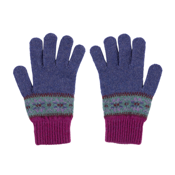 100% pure new wool Islay pattern lupin Green Grove gloves