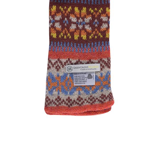 100% pure new wool Islay stripe pattern orange slim scarf
