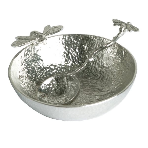 Pewter devon bee hand crafted bowl and spoon