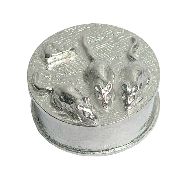 Pewter three mice hand crafted box