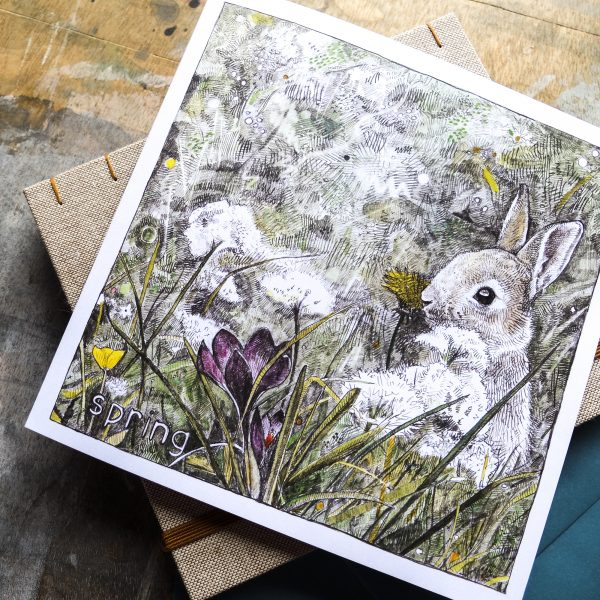 Spring bunny greeting card by Hannah Longmuir