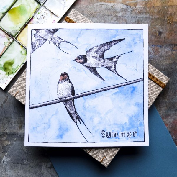 Summer swallows greeting card by Hannah Longmuir