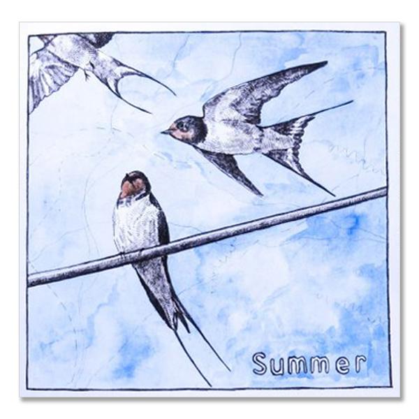 Summer swallows greeting card by Hannah Longmuir
