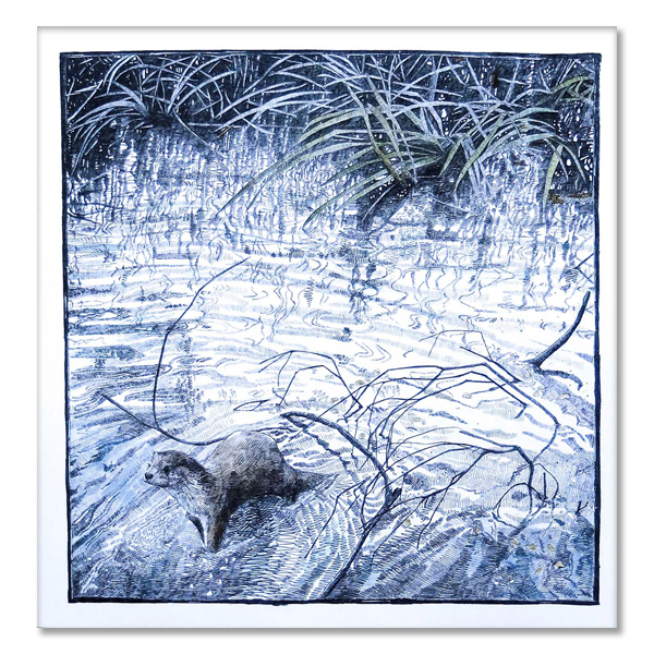 Otter drawing - texture of the river by Hannah Longmuir greeting card