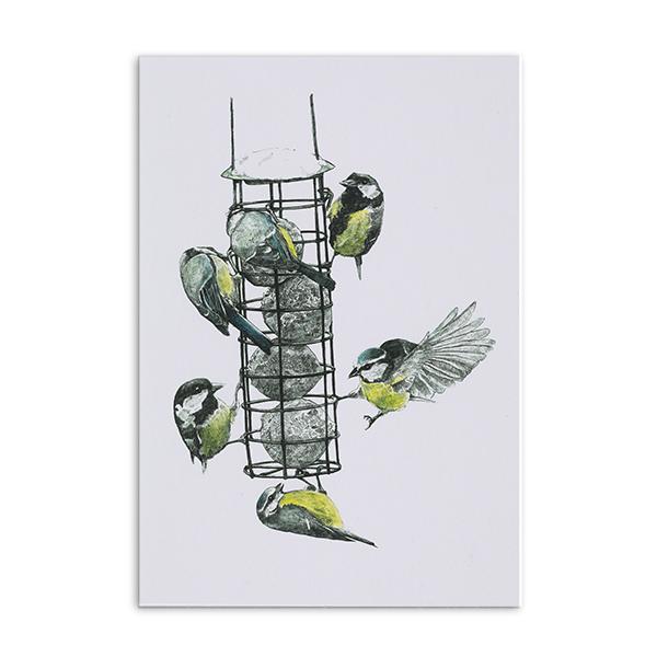 Bird feeder greeting card by Hannah Longmuir