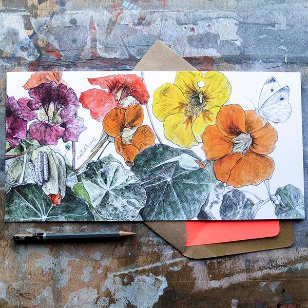 Nasturtiums greeting card by Hannah Longmuir