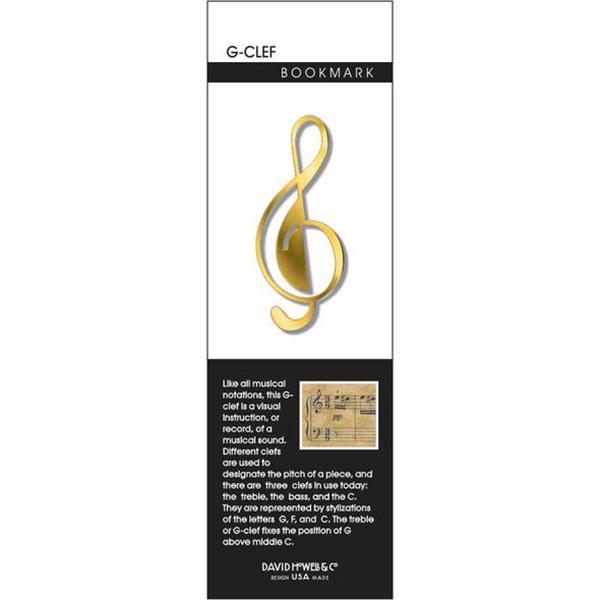 G-Clef musical note brass bookmark
