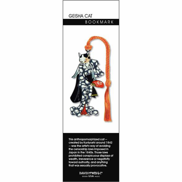 Dancing geisha cat brass bookmark