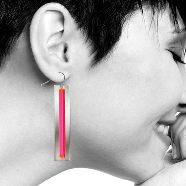 Fluorescent light works red earrings #1 earrings