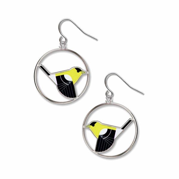 Goldfinch by Charley Harper drop earrings