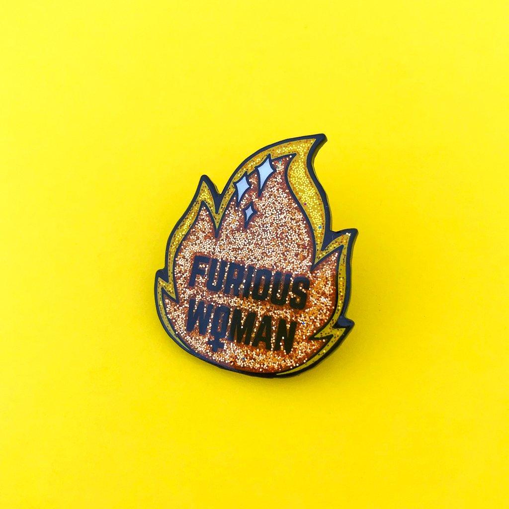 Furious woman glitter enamel pin
