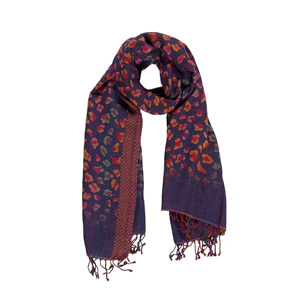 100% merino wool flower pattern scarf
