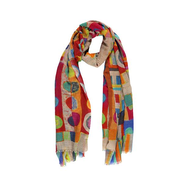 Bright geometric shaped pattern merino wool scarf