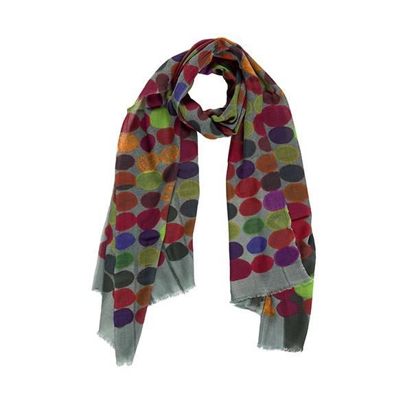 100% merino wool colourful dots pattern scarf
