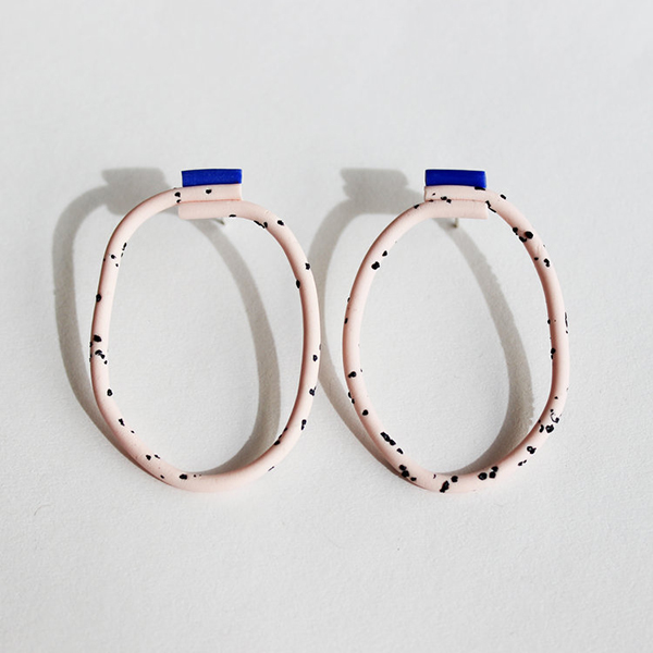 Medium loop pink and blue coloured handmade earrings