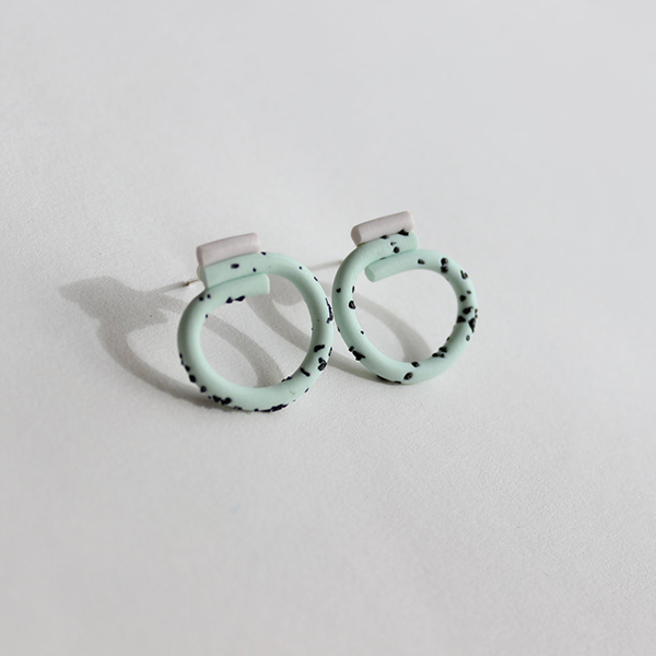 Small loop mint and grey coloured handmade earrings