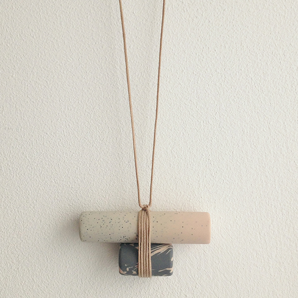 Double barrel natural and grey handmade necklace
