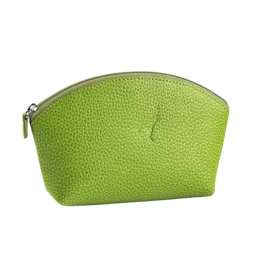 Embossed light green leather make up bag