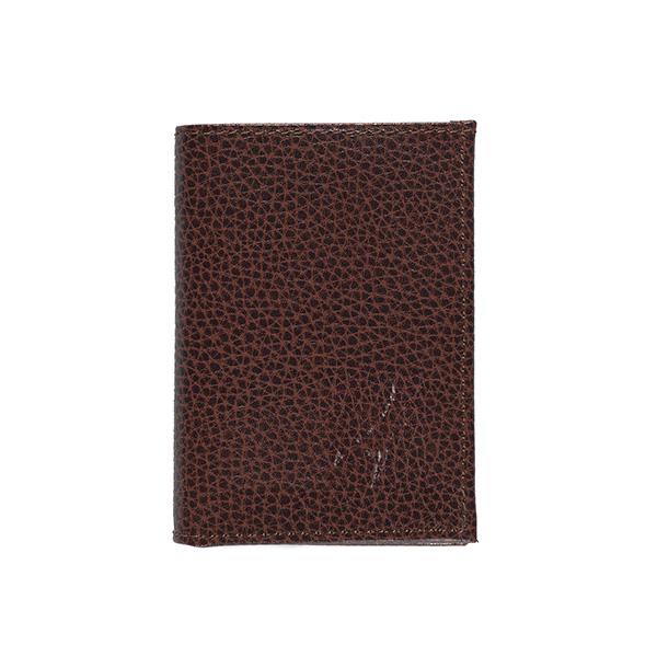Embossed brown leather slimline wallet