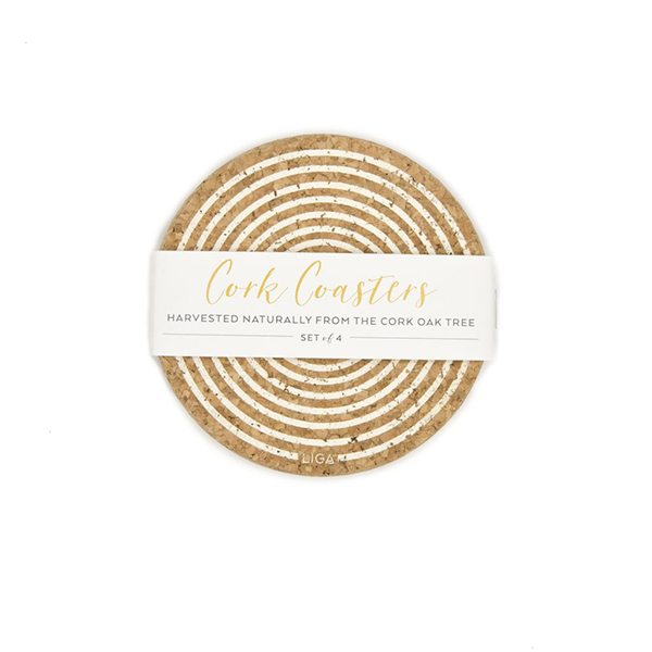 Cream orbit cork coaster set