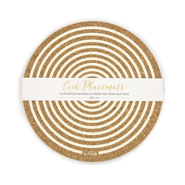 Cream orbit cork placemat set