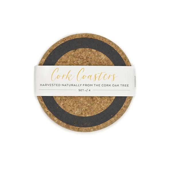 Grey earth cork coaster set