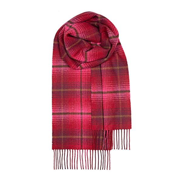 100% pure lambs wool Lauriston check bowhill tartan scarf
