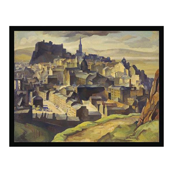 Edinburgh from Salisbury Crags by William Crozier (60 cm) framed canvas