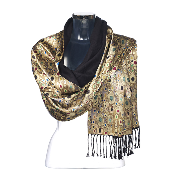 Gustav Klimt gold satin stole