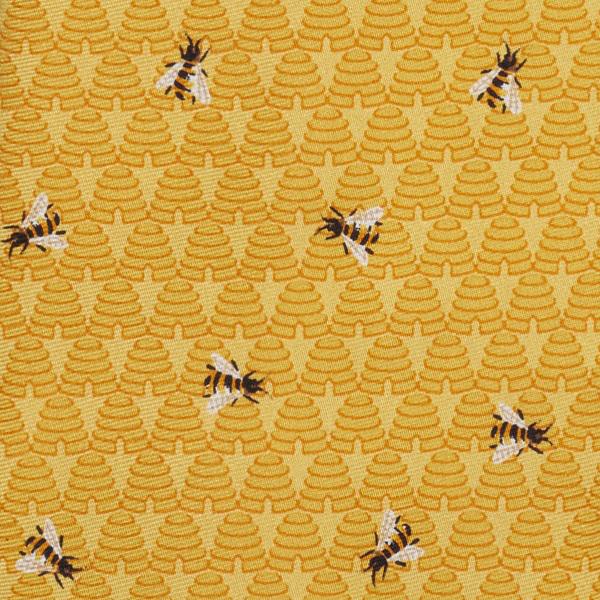 Bee pattern yellow silk tie