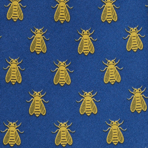 Imperial bee pattern blue silk tie