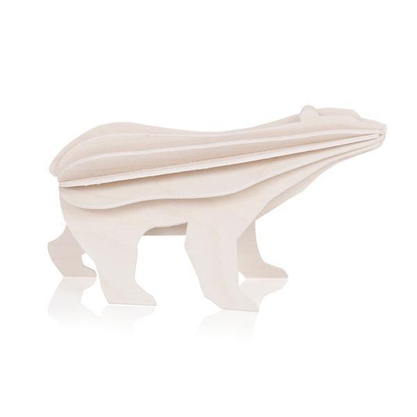 White polar bear wooden flat pack Christmas decoration kit (15cm)
