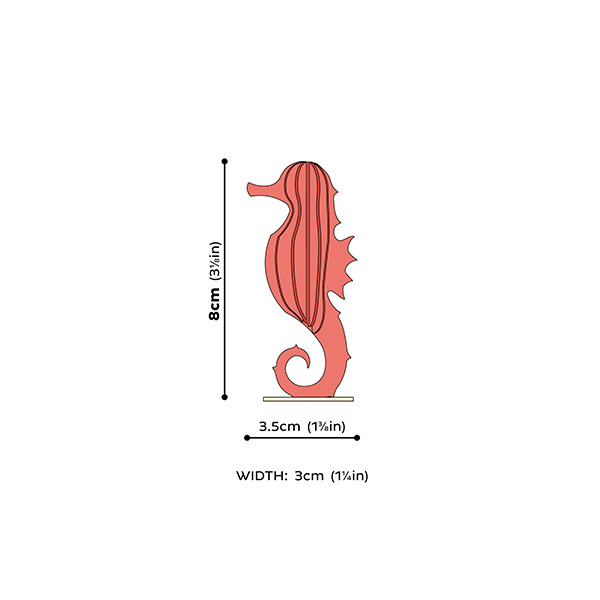 Coral red seahorse wooden flat pack construction kit (8 cm)