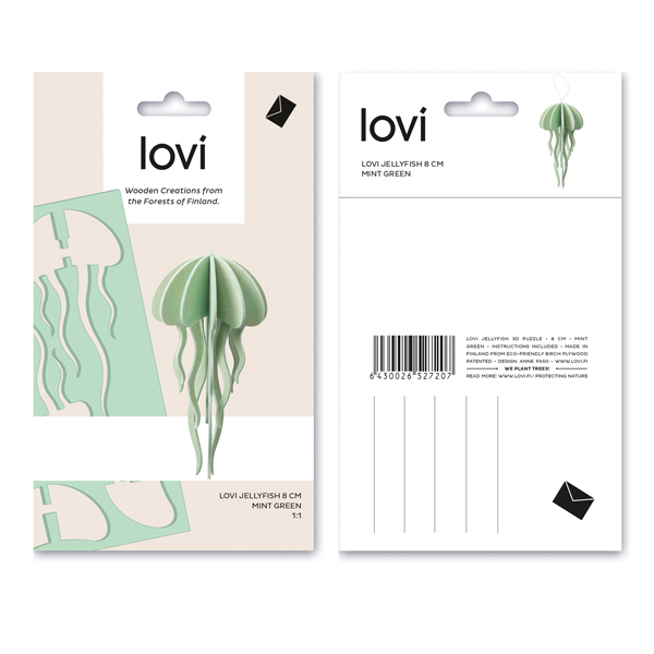 Mint green jellyfish wooden flat pack kit (8cm)