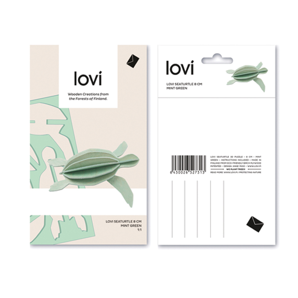 Mint green sea turtle wooden flat pack kit (8cm)