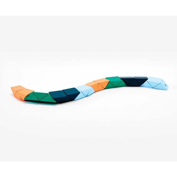 Small block snake orange and blue