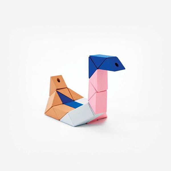 Small block snake pink and blue