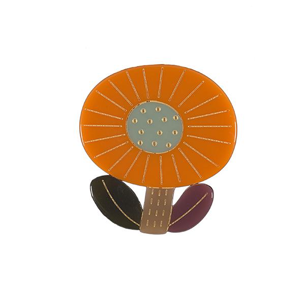 Round orange flower brooch