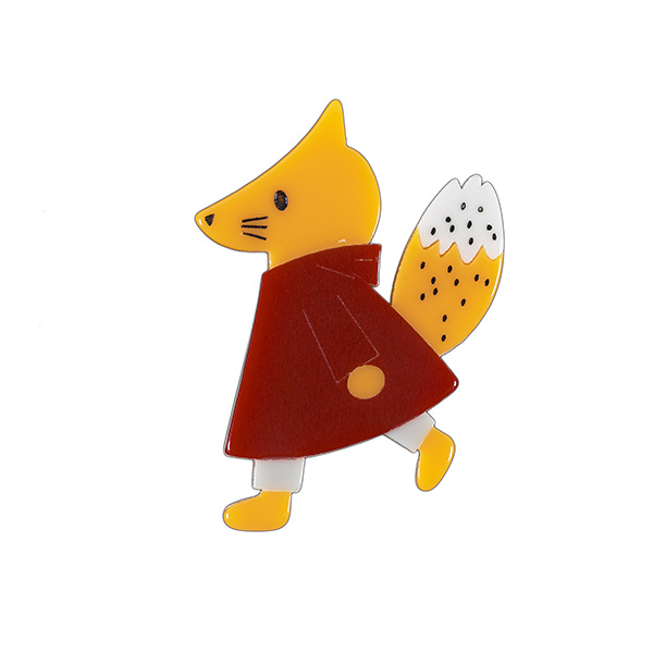 Fox in a red coat resin brooch