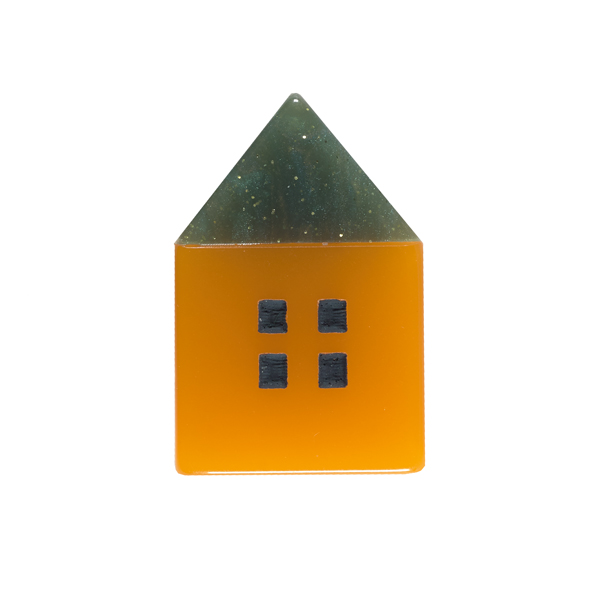 Small green and orange house resin brooch